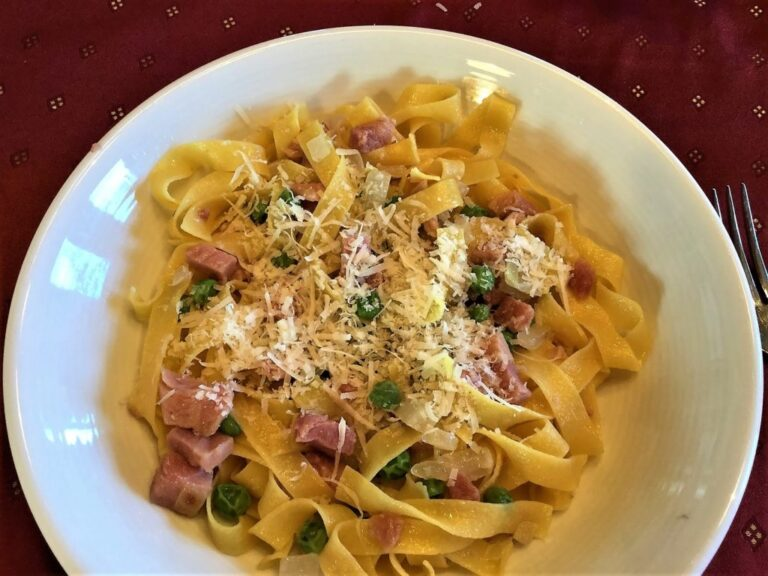Ham and Peas Fettucini