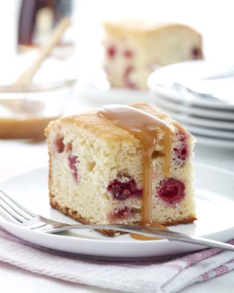 Cranberry Cake with Maple Sauce